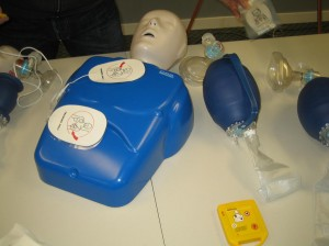 AED pads on an adult training mannequin
