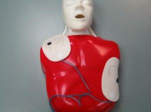 AED Pads on a Manikin